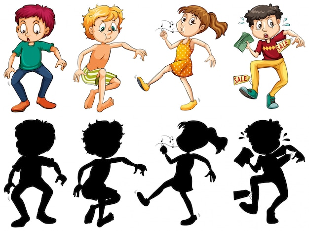 Silhouette, color and outline version of crazy kids Free Vector