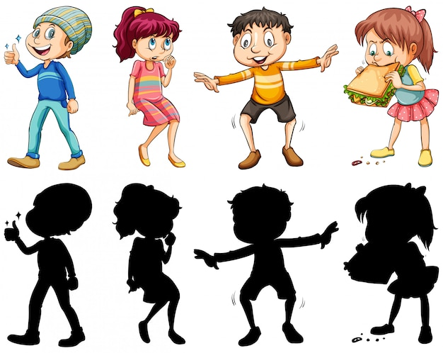 Silhouette, color and outline version with crazy kids Free Vector