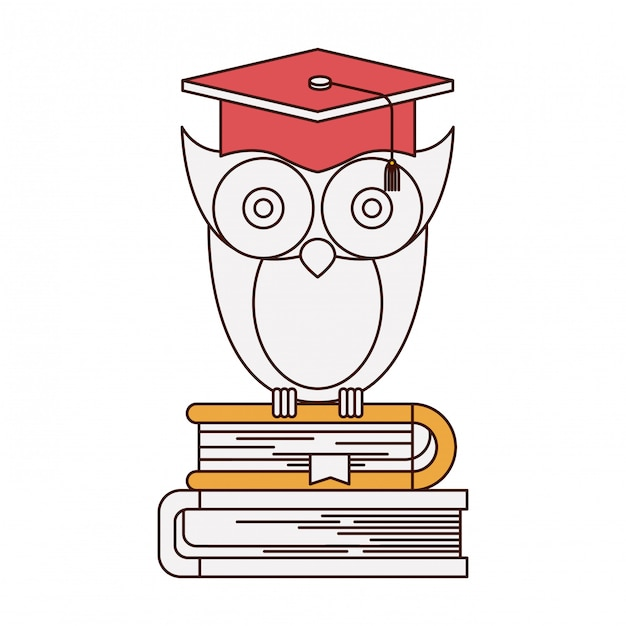Silhouette color sections of owl knowledge with cap graduation on stack of books Premium Vector