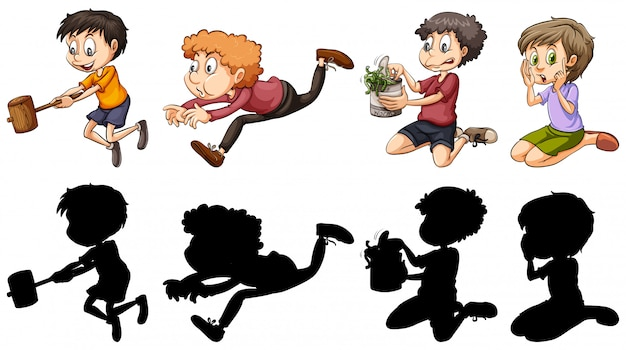 Silhouette and color version of kids in fun actions Free Vector