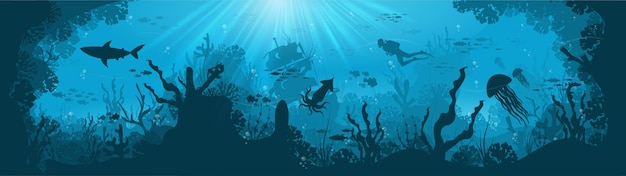 Silhouette of coral reef with fish and scuba diver on a blue sea background