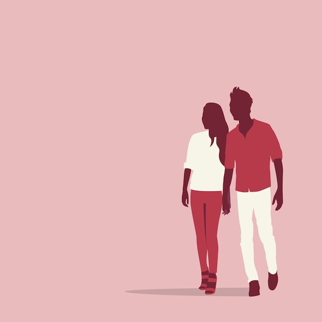 Silhouette couple lovers holding hands with copy space Premium Vector