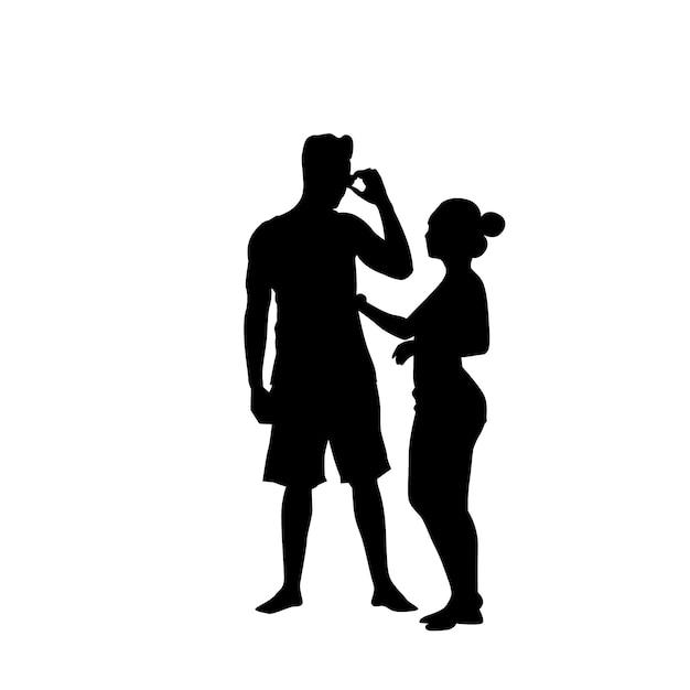 Silhouette couple man speak on cell smart phone call standing full length over white background Premium Vector
