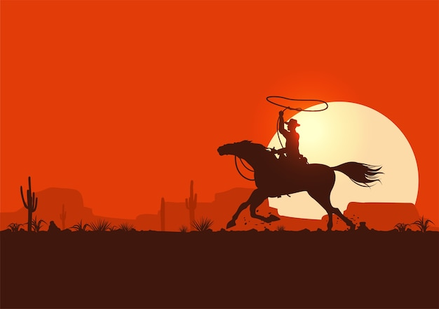 Silhouette of a cowboy riding horse Premium Vector