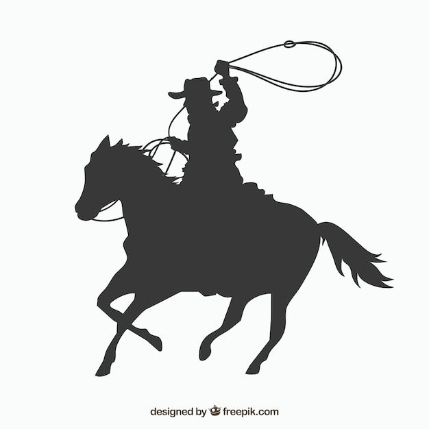Silhouette cowboy riding horse Free Vector