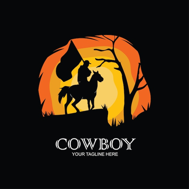 Silhouette of cowboy riding horses at sunset Premium Vector