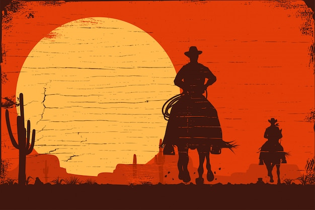 Silhouette of cowboys riding horses at sunset on a wooden sign, vector Premium Vector