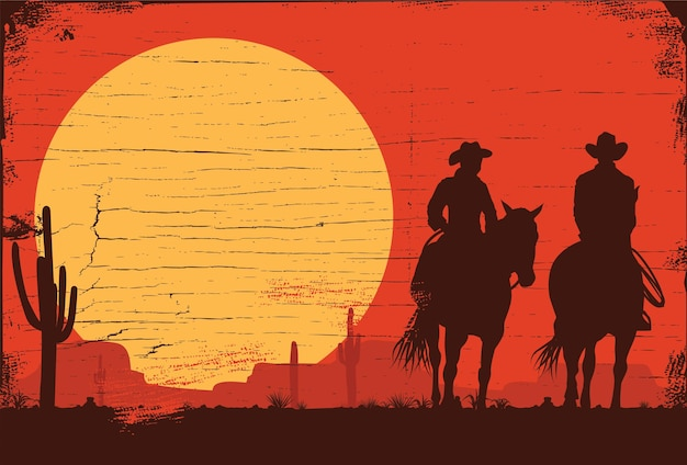 Silhouette of a cowboys riding horses Premium Vector