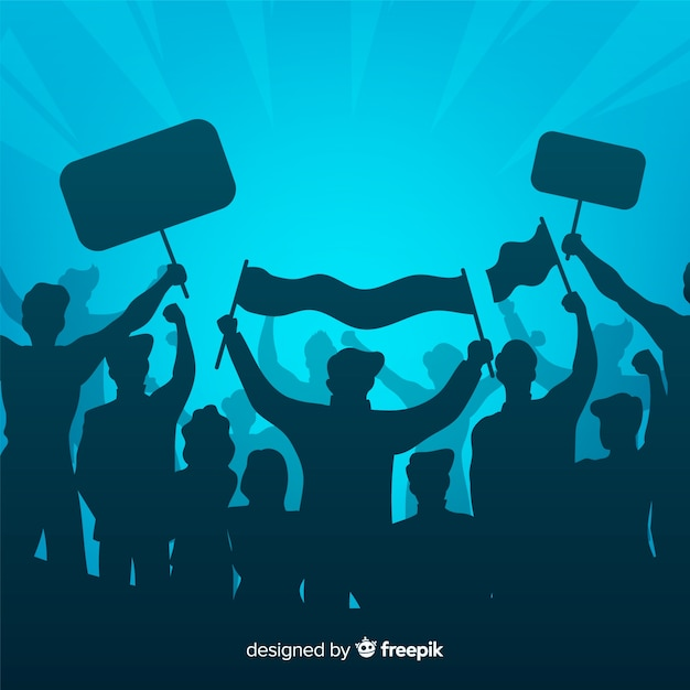 Silhouette crowd of people with flags and banners in a manifestation Free Vector
