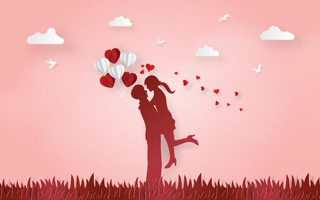 Silhouette cute couple show the love to each other Premium Vector