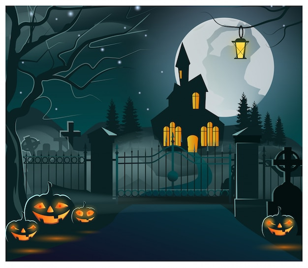Silhouette of dark house with lights in windows illustration Premium Vector