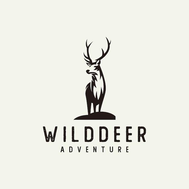 Silhouette deer logo Premium Vector