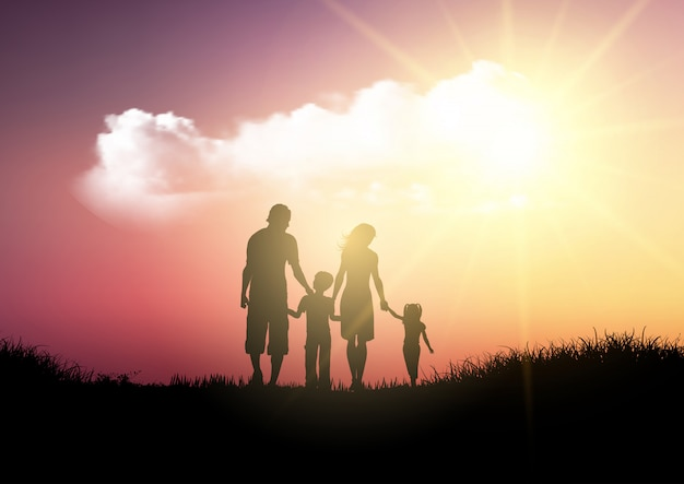 Silhouette of a family walking against a sunset sky Free Vector