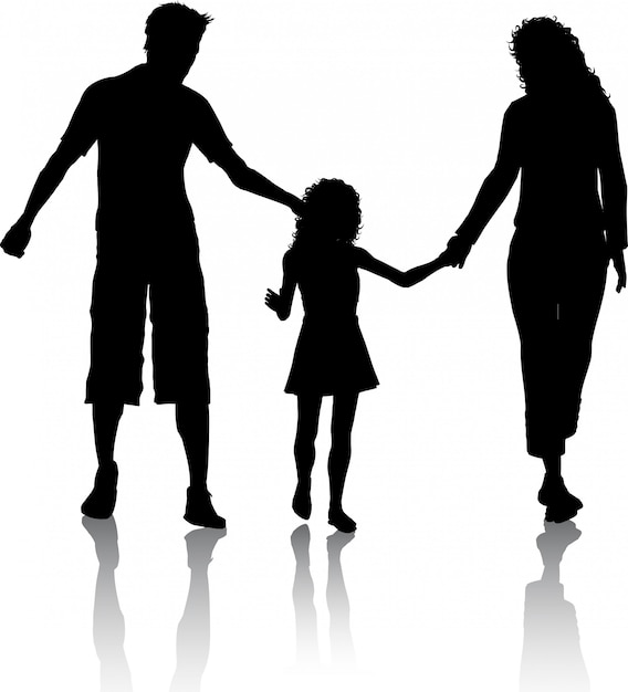 Silhouette of a family walking Free Vector