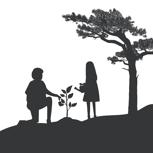 Silhouette of father and daughter gardening vector Free Vector