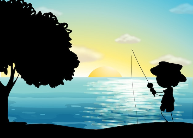 Silhouette fishing Free Vector