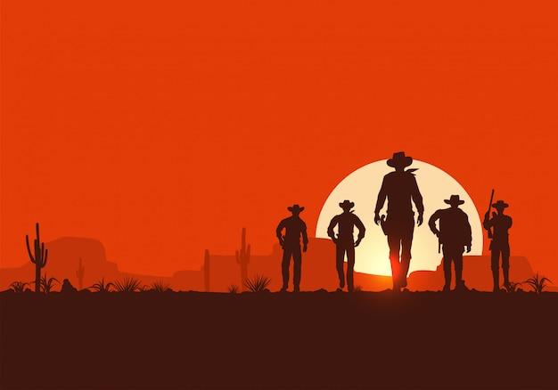 Silhouette of five cowboys walking forward banner Premium Vector