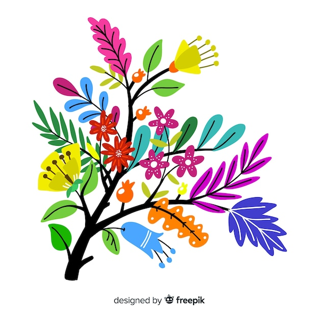 Silhouette of flowers flat design Free Vector