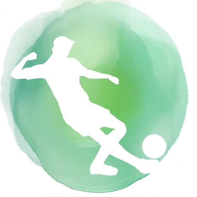 Silhouette of a footballer on a watercolor background Free Vector