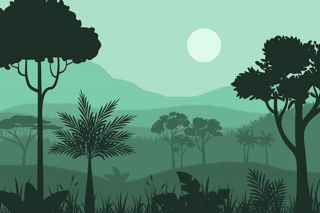 Silhouette forest background Premium Vector