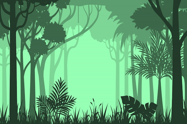 Silhouette forest background Premium Vector