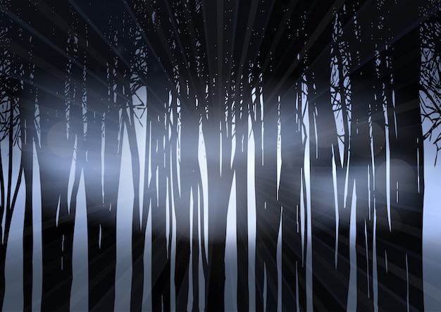 Silhouette of a forest at night Free Vector