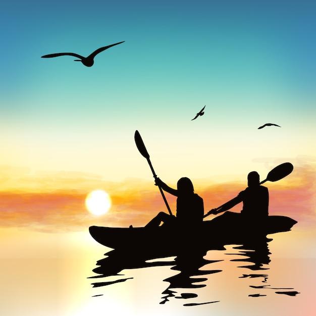 Silhouette of funny girls kayaking. Premium Vector