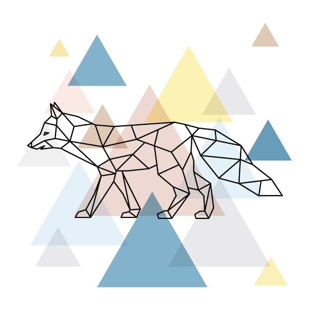 Silhouette of a geometric fox. scandinavian style. Premium Vector