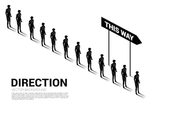 Silhouette group of businessman queue with direction Premium Vector
