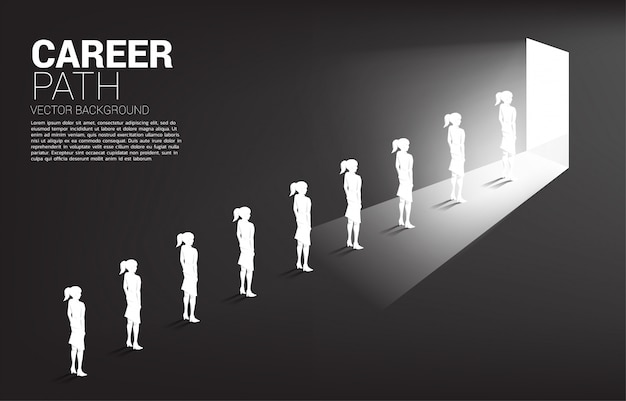 Silhouette group of businesswoman queue to exit the door.  business career and recruitment. Premium Vector