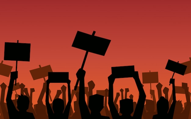 Silhouette group of people raised fist and signs protest in flat icon design on red color background Premium Vector