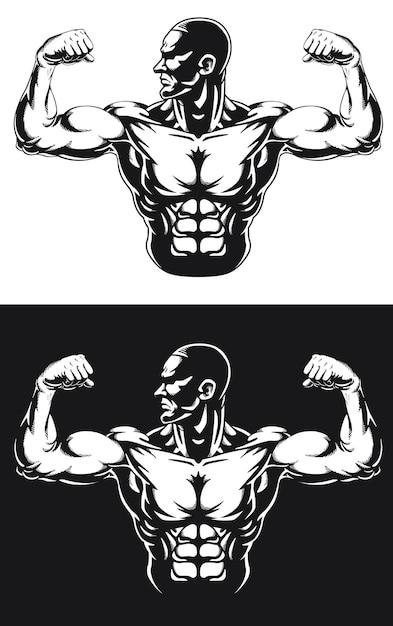 실루엣 체육관 보디 빌더 Flexing 팔 근육 프리미엄 벡터