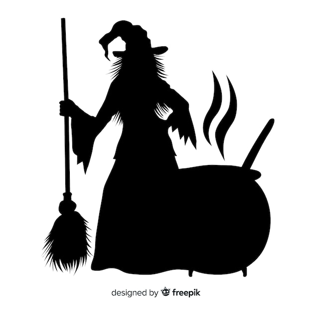 Silhouette of a halloween witch Free Vector