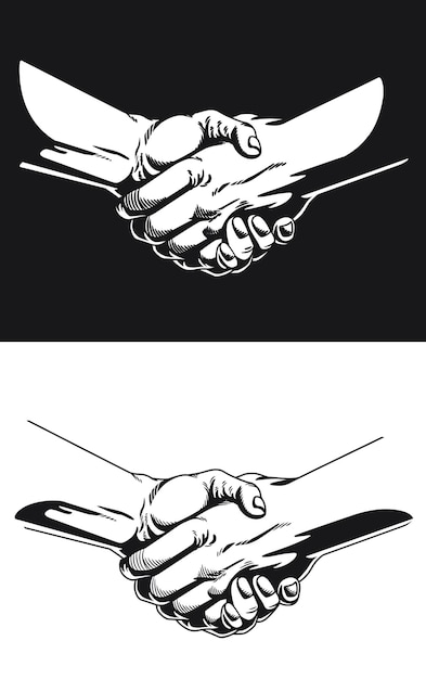 Силуэт рукопожатие черный контур иллюстрации Premium векторы