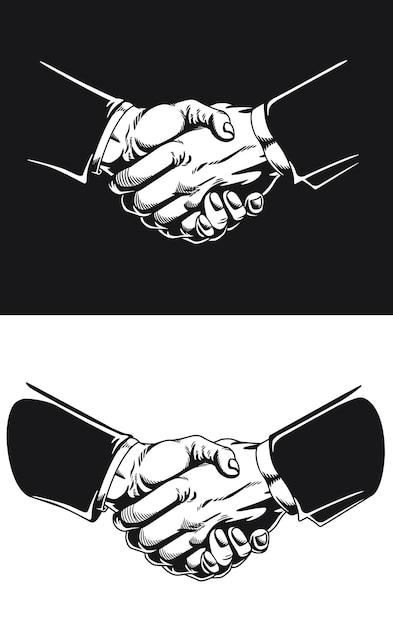 Силуэт рукопожатие деловое соглашение контракт сделка Premium векторы