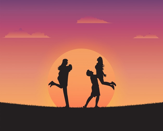 Silhouette happy young people of sunset background Premium Vector