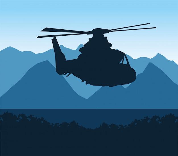 シルエットヘリコプター軍の飛行シーン Premiumベクター