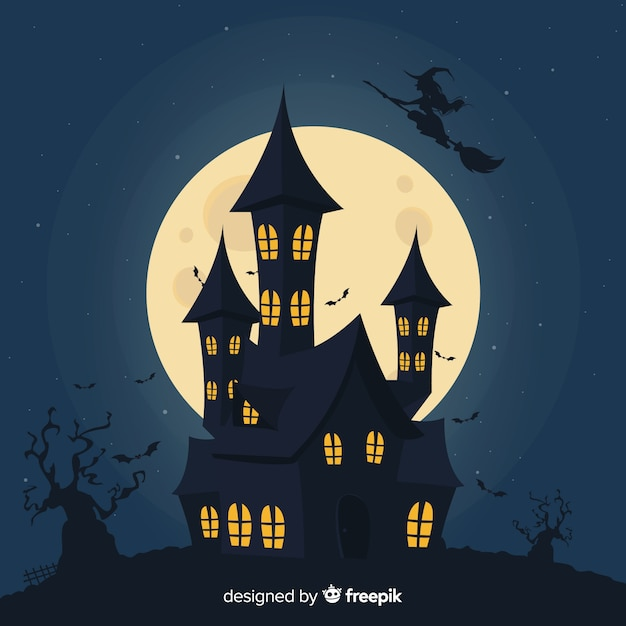 Silhouette of a house on a full moon night Free Vector