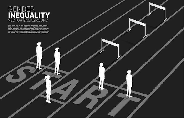 Silhouette hurdles obstacle in front of only one businesswoman . concept of career obstacles and gender inequality Premium Vector