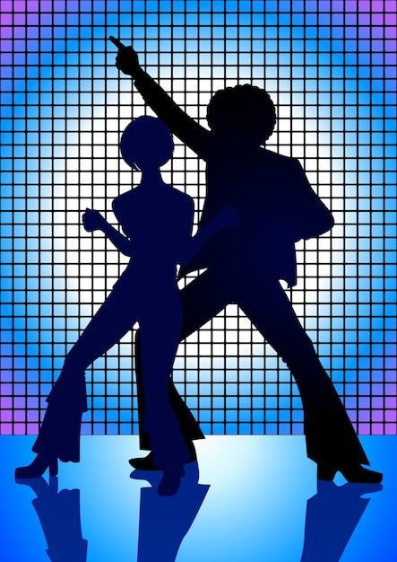 Silhouette illustration of couple disco dancing Premium Vector
