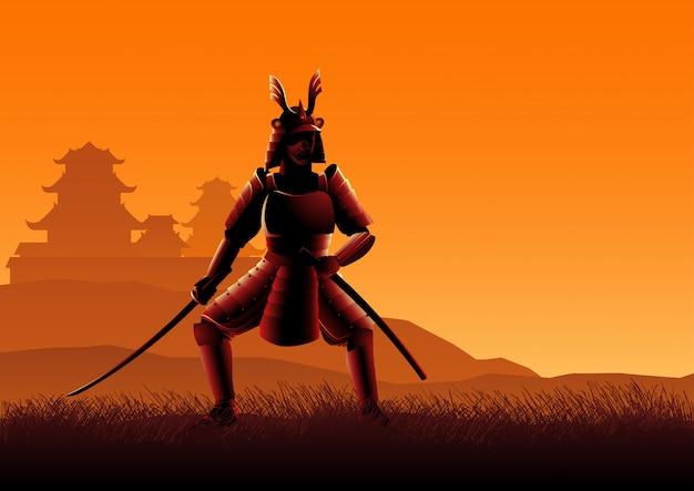 Silhouette illustration of a samurai Premium Vector
