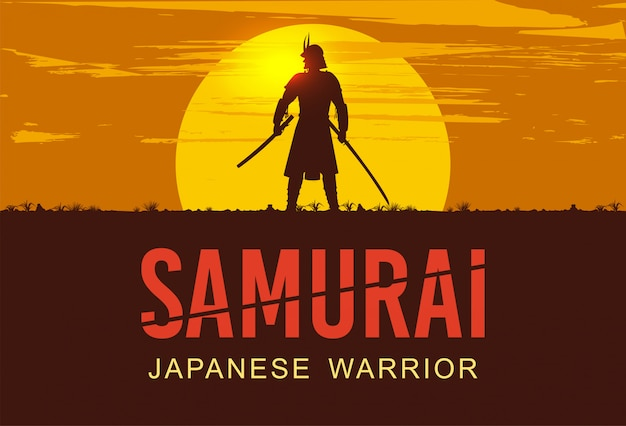 Silhouette of japanese samurai with sword standing at sunset, Premium Vector