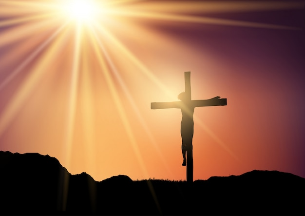 Silhouette of jesus on the cross against a sunset sky Free Vector