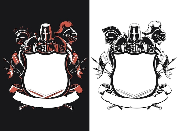 Silhouette knight shield crest isolated Premium Vector