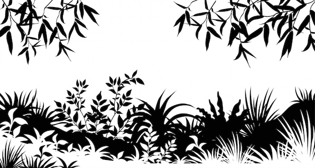 Silhouette leafs trees and grass. Free Vector