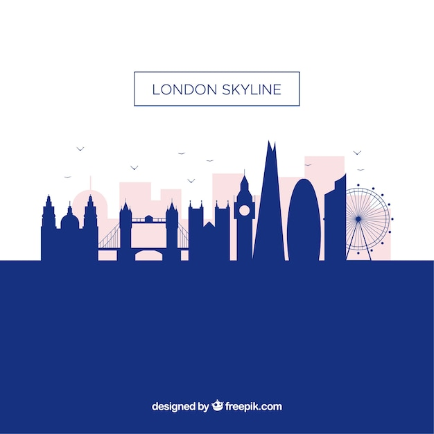 Silhouette london skyline background in flat style Free Vector