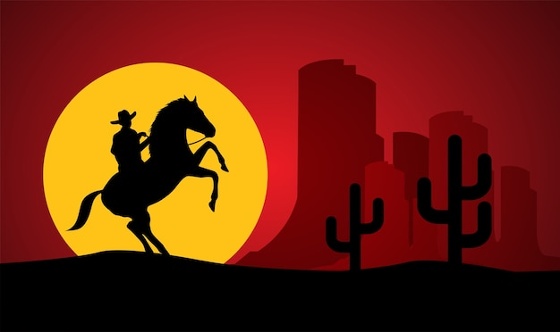 Silhouette of lonesome cowboy riding horse at sunset Premium Vector