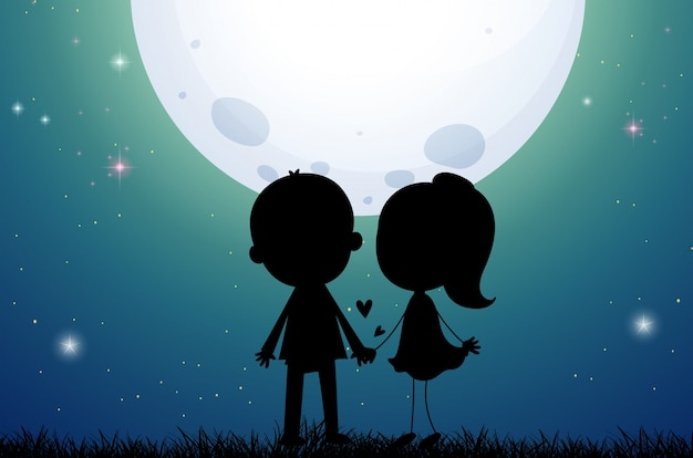 Silhouette love couple in the field Free Vector