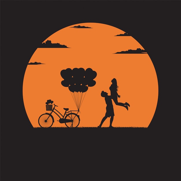 Silhouette of lover and valentine day Premium Vector