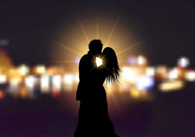 Silhouette of a loving couple on bokeh lights background Free Vector
